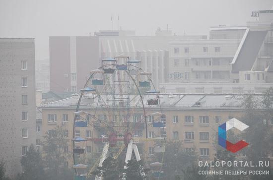 Смог в Чите, вызванный действующими лесными пожарами на территории Красноярского края